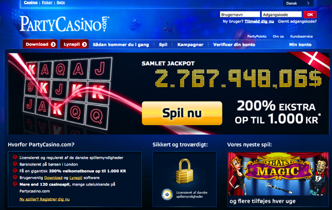 partycasino screenshot.